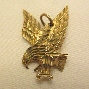 10k solid gold eagle pendant mens